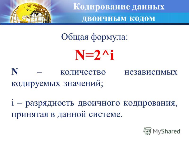 Кодирование данных двоичным кодом Общая формула: N=2^i N – количество независимых кодируемых значений; i – разрядность двоичного кодирования, принятая в данной системе.