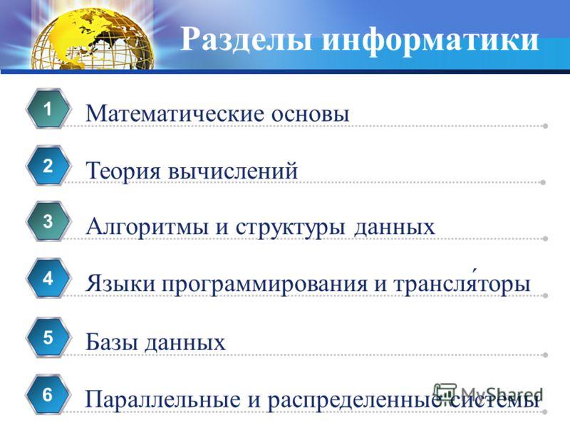 Разделы информатики Математические основы 1 Теория вычислений 2 Алгоритмы и структуры данных 3 Языки программирования и трансля́торы 4 Базы данных 5 Параллельные и распределенные системы 6