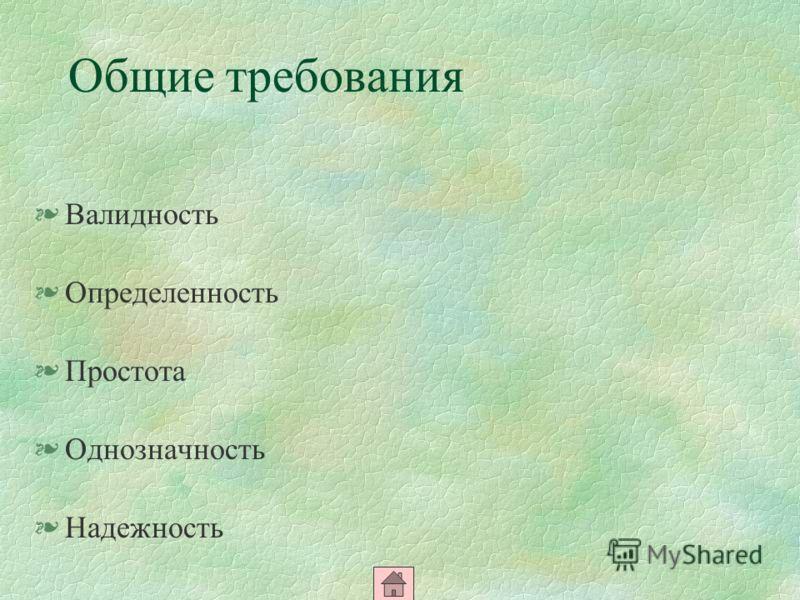 Общие требования §Валидность §Определенность §Простота §Однозначность §Надежность