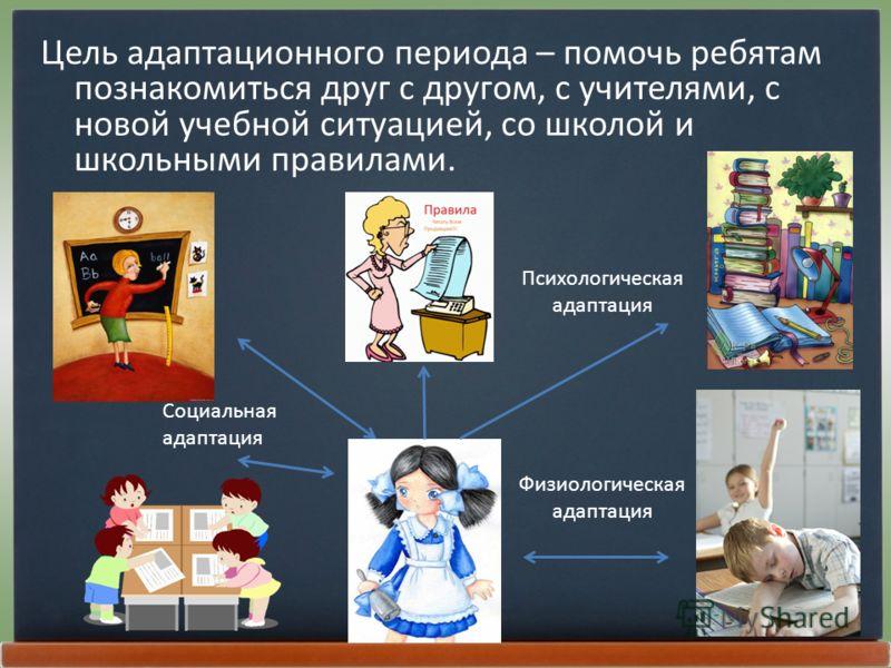 Цель адаптационного периода – помочь ребятам познакомиться друг с другом, с учителями, с новой учебной ситуацией, со школой и школьными правилами. Психологическая адаптация Социальная адаптация Физиологическая адаптация