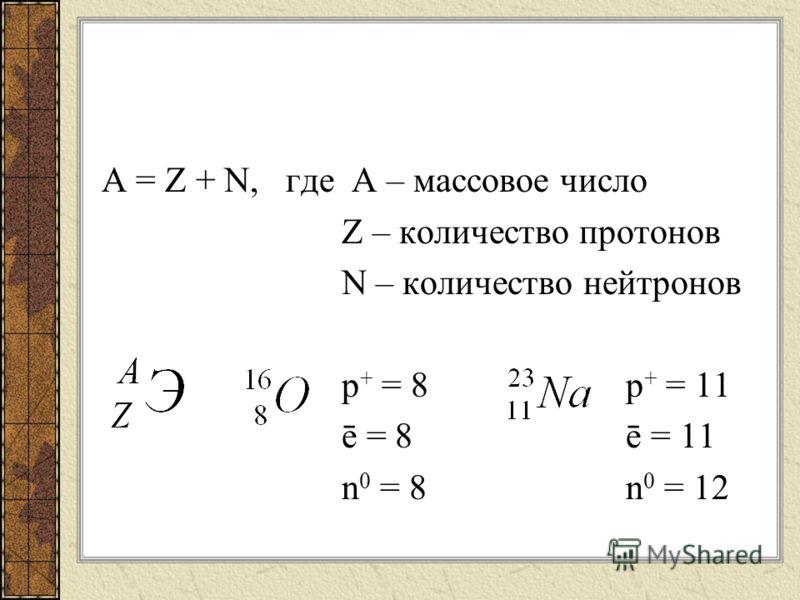 A = Z + N, где А – массовое число Z – количество протонов N – количество нейтронов p + = 8 p + = 11 ē = 8 ē = 11 n 0 = 8 n 0 = 12