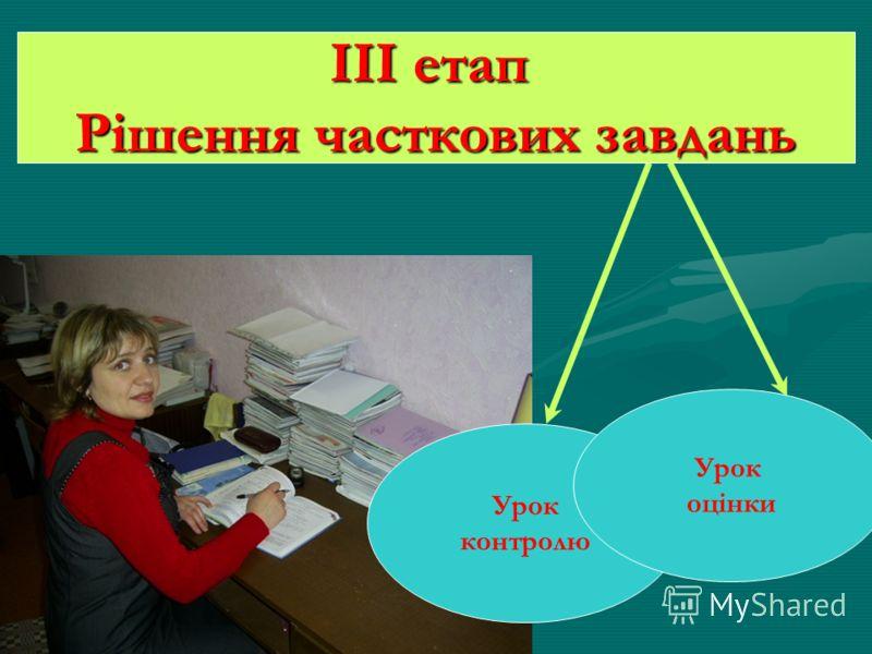 Урок контролю Урок оцінки ІІІ етап Рішення часткових завдань
