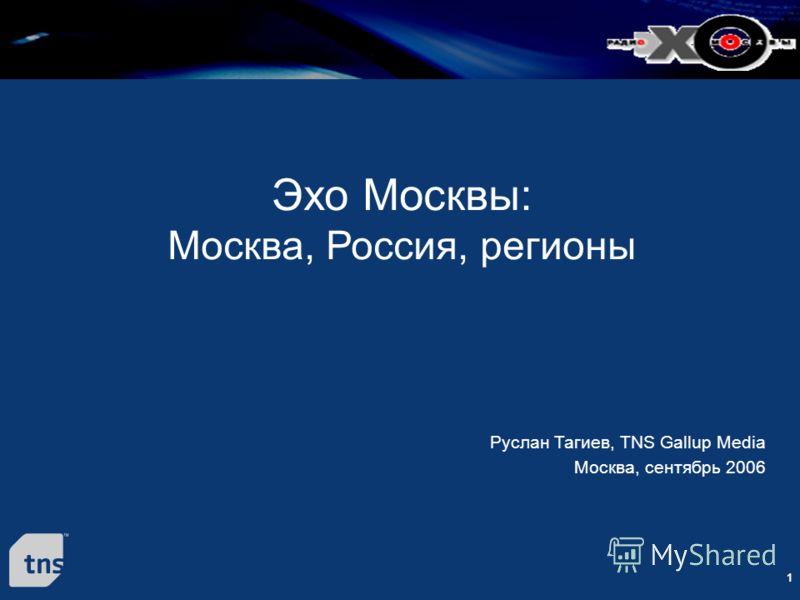 1 Эхо Москвы: Москва, Россия, регионы Руслан Тагиев, TNS Gallup Media Москва, сентябрь 2006