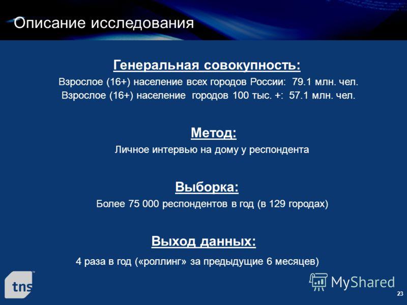 23 Взрослое (16+) население всех городов России: 79.1 млн. чел. Генеральная совокупность: Личное интервью на дому у респондента Более 75 000 респондентов в год (в 129 городах) Метод: Выборка: Взрослое (16+) население городов 100 тыс. +: 57.1 млн. чел