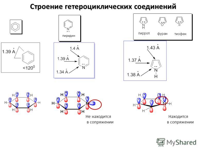 Строение гетероциклических соединений Не находится Находится в сопряжении в сопряжении