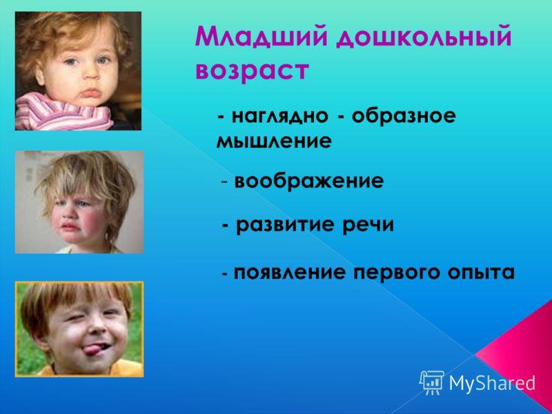Младший дошкольный возраст - наглядно - образное мышление - воображение - развитие речи - появление первого опыта