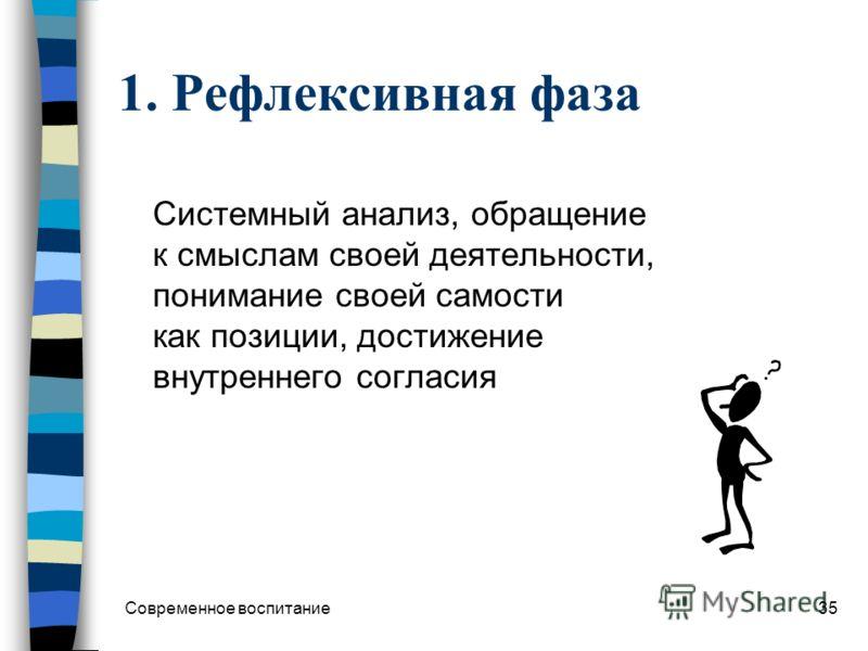 Современное воспитание34 Фазы воспитательного взаимодействия 1. Рефлексивная обращение к опыту, поиск смыслов деятельности 2. Ценностная (или теоретическая) сопоставление смыслов с системным знанием, оформление смыслов в ценности 3. Нормативная самор