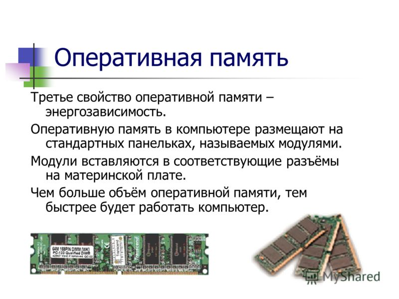 Оперативная память Динамическая DRAM Статическая SRAM