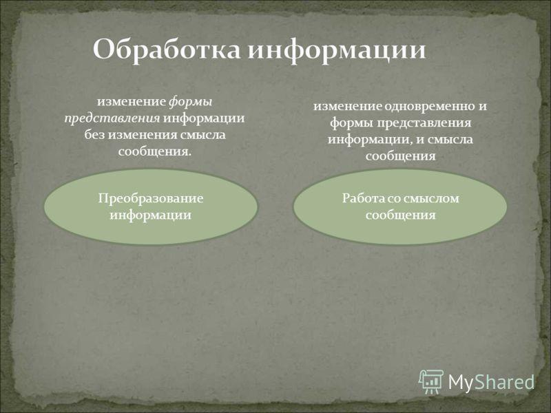 изменение формы представления информации без изменения смысла сообщения. Преобразование информации изменение одновременно и формы представления информации, и смысла сообщения Работа со смыслом сообщения