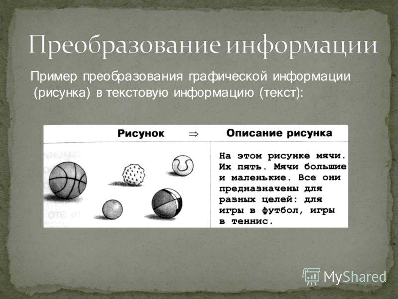 Пример преобразования графической информации (рисунка) в текстовую информацию (текст):