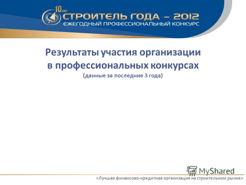 Результаты участия организации в профессиональных конкурсах (данные за последние 3 года) «Лучшая финансово-кредитная организация на строительном рынке»