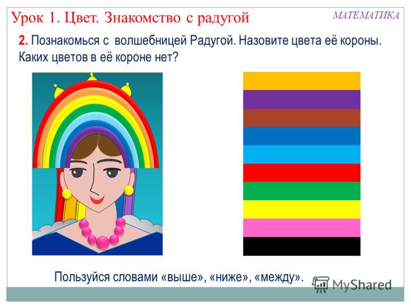 2. Познакомься с волшебницей Радугой. Назовите цвета её короны. Каких цветов в её короне нет? Пользуйся словами «выше», «ниже», «между». Урок 1. Цвет. Знакомство с радугой МАТЕМАТИКА