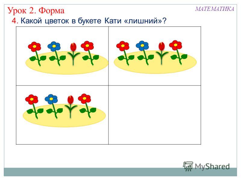 4. Какой цветок в букете Кати «лишний»? Урок 2. Форма МАТЕМАТИКА