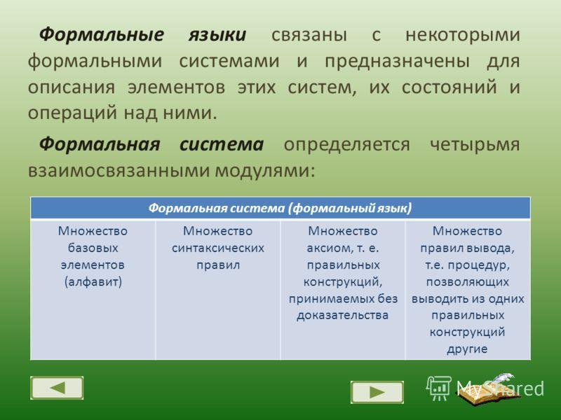Формальные языки связаны с некоторыми формальными системами и предназначены для описания элементов этих систем, их состояний и операций над ними. Формальная система определяется четырьмя взаимосвязанными модулями: Формальная система (формальный язык)