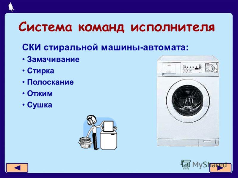 Система команд исполнителя СКИ стиральной машины-автомата: Замачивание Стирка Полоскание Отжим Сушка