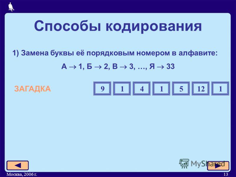 Москва, 2006 г.13 1) Замена буквы её порядковым номером в алфавите: А 1, Б 2, В 3, …, Я 33 ЗАГАДКА Способы кодирования 91415121