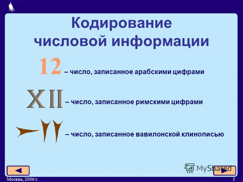 Москва, 2006 г.3 Кодирование числовой информации 12 – число, записанное арабскими цифрами – число, записанное римскими цифрами – число, записанное вавилонской клинописью