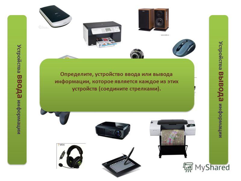 Устройства ввода информации Устройства вывода информации Определите, устройство ввода или вывода информации, которое является каждое из этих устройств (соедините стрелками).