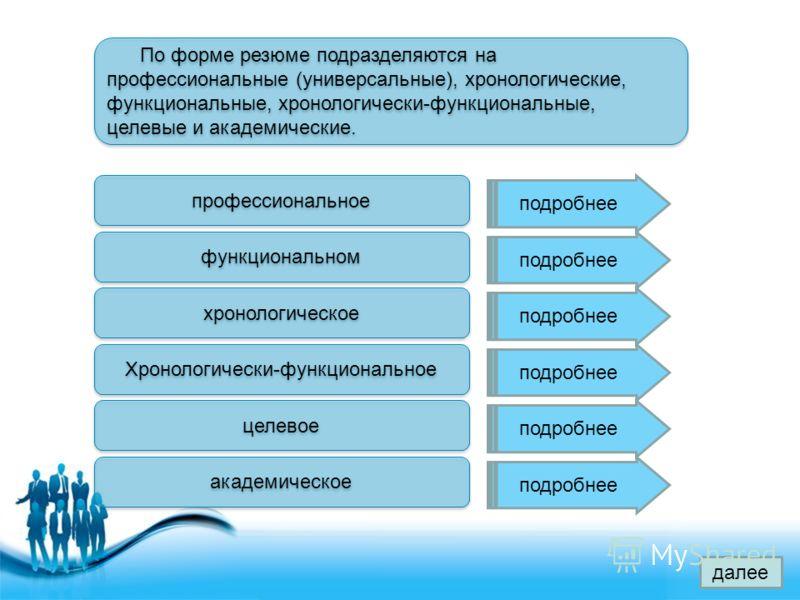 Free Powerpoint Templates Page 5 По форме резюме подразделяются на профессиональные (универсальные), хронологические, функциональные, хронологически-функциональные, целевые и академические. профессиональное функциональном хронологическое Хронологичес