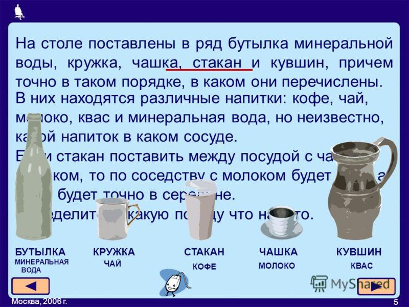 Москва, 2006 г. 5 На столе поставлены в ряд бутылка минеральной воды, кружка, чашка, стакан и кувшин, причем точно в таком порядке, в каком они перечислены. В них находятся различные напитки: кофе, чай, молоко, квас и минеральная вода, но неизвестно,
