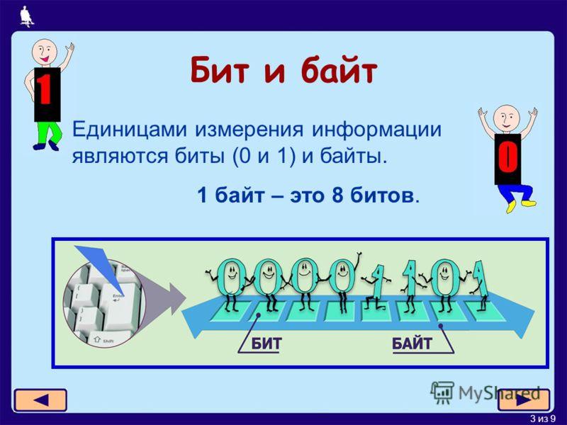 3 из 9 Бит и байт Единицами измерения информации являются биты (0 и 1) и байты. 1 байт – это 8 битов.