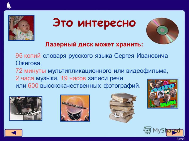 8 из 9 Это интересно Лазерный диск может хранить: 95 копий словаря русского языка Сергея Ивановича Ожегова, 72 минуты мультипликационного или видеофильма, 2 часа музыки, 19 часов записи речи или 600 высококачественных фотографий.