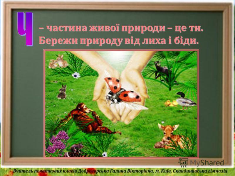 – частина живої природи – це ти. Бережи природу від лиха і біди.