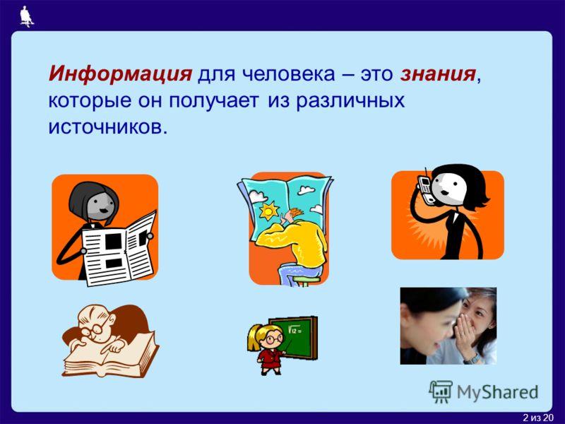2 из 20 Информация для человека – это знания, которые он получает из различных источников.