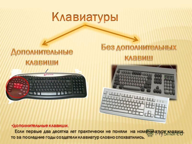 дополнительные клавиши. дополнительные клавиши. Если первые два десятка лет практически не поняли на номенклатуру клавиш, то за последние годы создатели клавиатур словно спохватились.