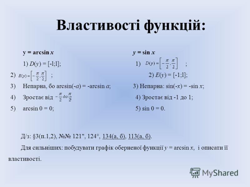 Властивості функцій: у = arcsin ху = sin х 1) D(y) = [-l;l];1) ; 2) ; 2) E(y) = [-1;l]; 3)Непарна, бо arcsin(-a) = -arcsin a;3) Непарна: sin(-x) = -sin x; 4)Зростає від ;4) Зростає від -1 до 1; 5)arcsin 0 = 0;5) sin 0 = 0. Д/з: §3(п.1,2), 121