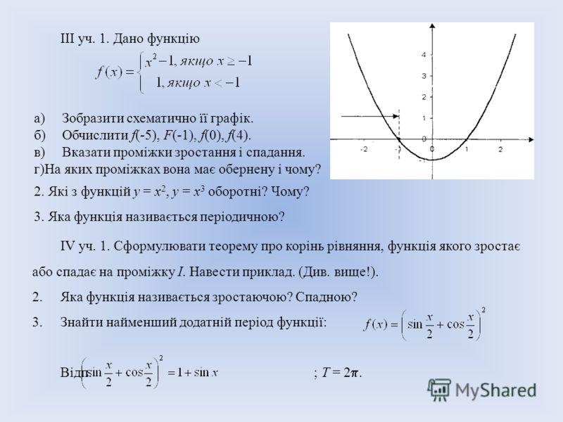 III уч. 1. Дано функцію а)Зобразити схематично її графік. б)Обчислити f(-5), F(-1), f(0), f(4). в)Вказати проміжки зростання і спадання. г)На яких проміжках вона має обернену і чому? 2. Які з функцій у = х 2, у = х 3 оборотні? Чому? 3. Яка функція на