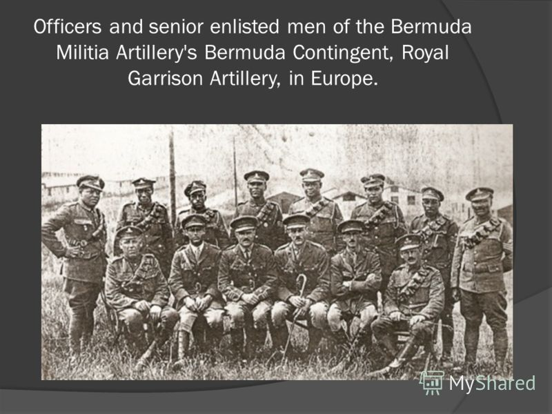 Officers and senior enlisted men of the Bermuda Militia Artillery's Bermuda Contingent, Royal Garrison Artillery, in Europe.