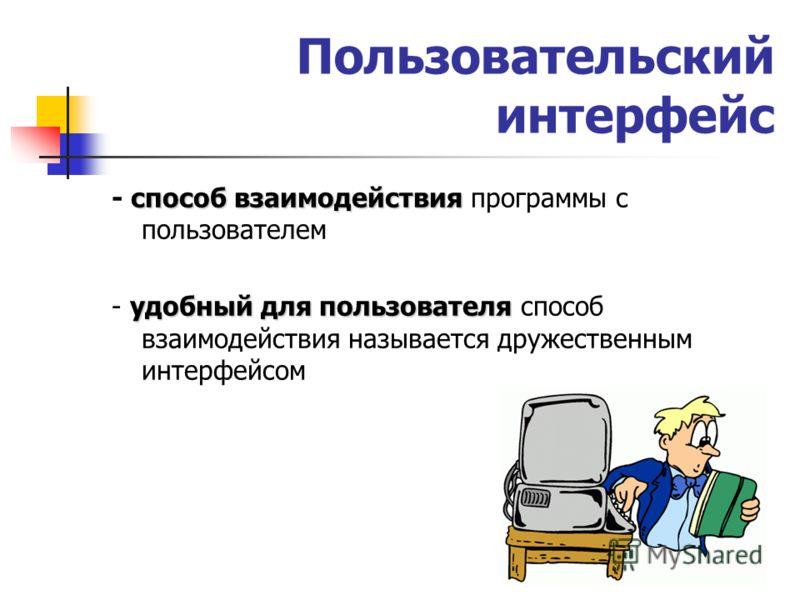 Пользовательский интерфейс способ взаимодействия - способ взаимодействия программы с пользователем удобный для пользователя - удобный для пользователя способ взаимодействия называется дружественным интерфейсом