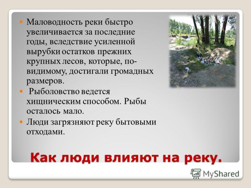 Как люди влияют на реку. Маловодность реки быстро увеличивается за последние годы, вследствие усиленной вырубки остатков прежних крупных лесов, которые, по- видимому, достигали громадных размеров. Рыболовство ведется хищническим способом. Рыбы остало