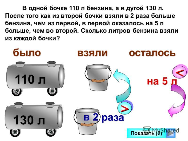 110 л130 л В одной бочке 110 л бензина, а в дугой 130 л. После того как из второй бочки взяли в 2 раза больше бензина, чем из первой, в первой оказалось на 5 л больше, чем во второй. Сколько литров бензина взяли из каждой бочки? >> в 2 раза быловзяли