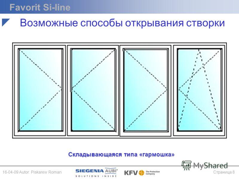 Favorit Si-line 16-04-09 Autor: Piskarew RomanСтраница 8 Складывающаяся типа «гармошка» Возможные способы открывания створки