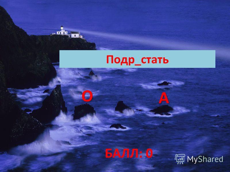 БАЛЛ: 0 Подр_стать ОООО АААА