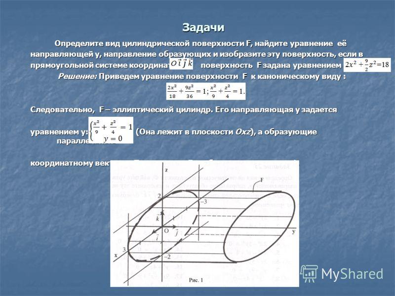 Задачи Определите вид цилиндрической поверхности F, найдите уравнение её направляющей y, направление образующих и изобразите эту поверхность, если в прямоугольной системе координат поверхность F задана уравнением F: Решение: Приведем уравнение поверх