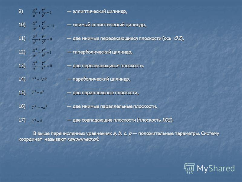 9) эллиптический цилиндр, 10) мнимый эллиптический цилиндр, 11) две мнимые пересекающиеся плоскости (ось O'Z), 12) гиперболический цилиндр, 13) две пересекающиеся плоскости, 14) параболический цилиндр, 15) две параллельные плоскости, 16) две мнимые п