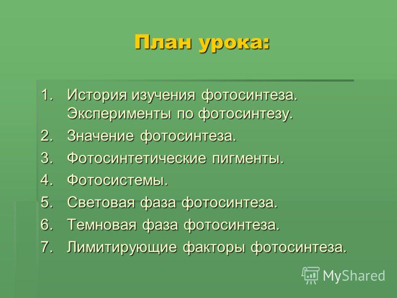 План урока: 1.История изучения фотосинтеза. Эксперименты по фотосинтезу. 2.Значение фотосинтеза. 3.Фотосинтетические пигменты. 4.Фотосистемы. 5.Световая фаза фотосинтеза. 6.Темновая фаза фотосинтеза. 7.Лимитирующие факторы фотосинтеза.