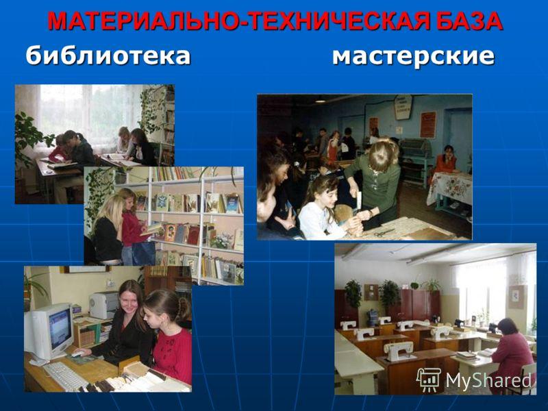 МАТЕРИАЛЬНО-ТЕХНИЧЕСКАЯ БАЗА библиотекамастерские