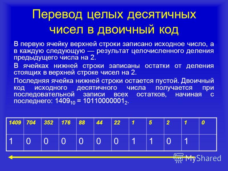 Перевод целых десятичных чисел в двоичный код В первую ячейку верхней строки записано исходное число, а в каждую следующую результат целочисленного деления предыдущего числа на 2. В ячейках нижней строки записаны остатки от деления стоящих в верхней