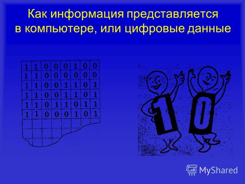 Как информация представляется в компьютере, или цифровые данные