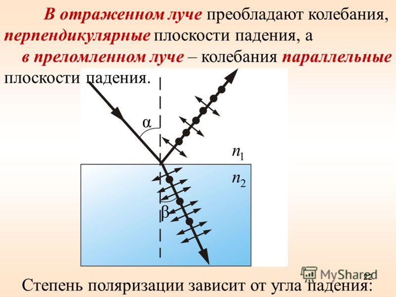 В отраженном луче преобладают колебания, перпендикулярные плоскости падения, а в преломленном луче – колебания параллельные плоскости падения. Степень поляризации зависит от угла падения: 22
