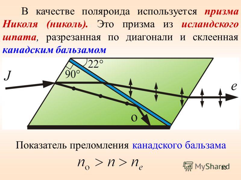 В качестве поляроида используется призма Николя (николь). Это призма из исландского шпата, разрезанная по диагонали и склеенная канадским бальзамом Рисунок 10.9 Показатель преломления канадского бальзама 33
