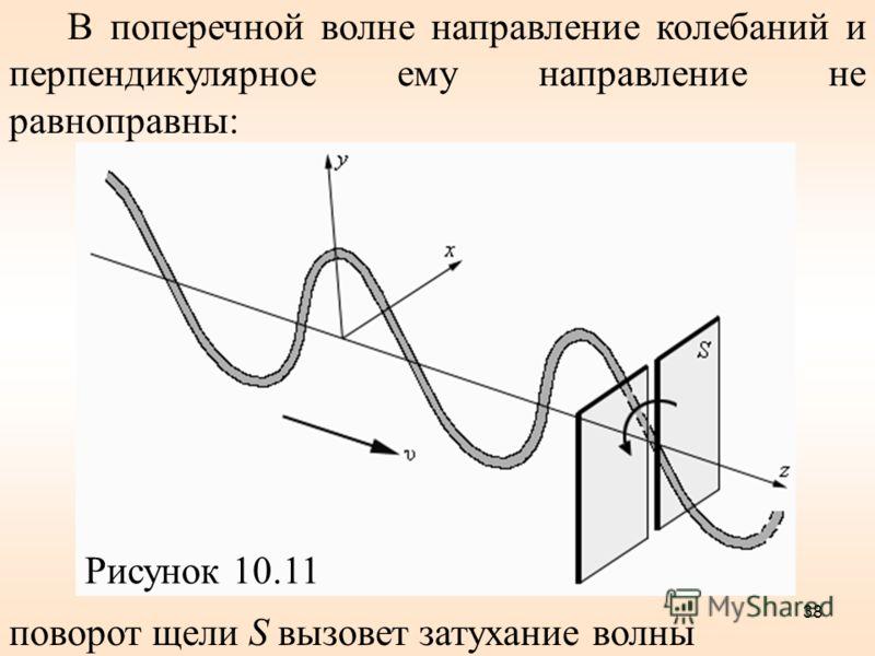 В поперечной волне направление колебаний и перпендикулярное ему направление не равноправны: Рисунок 10.11 поворот щели S вызовет затухание волны 38