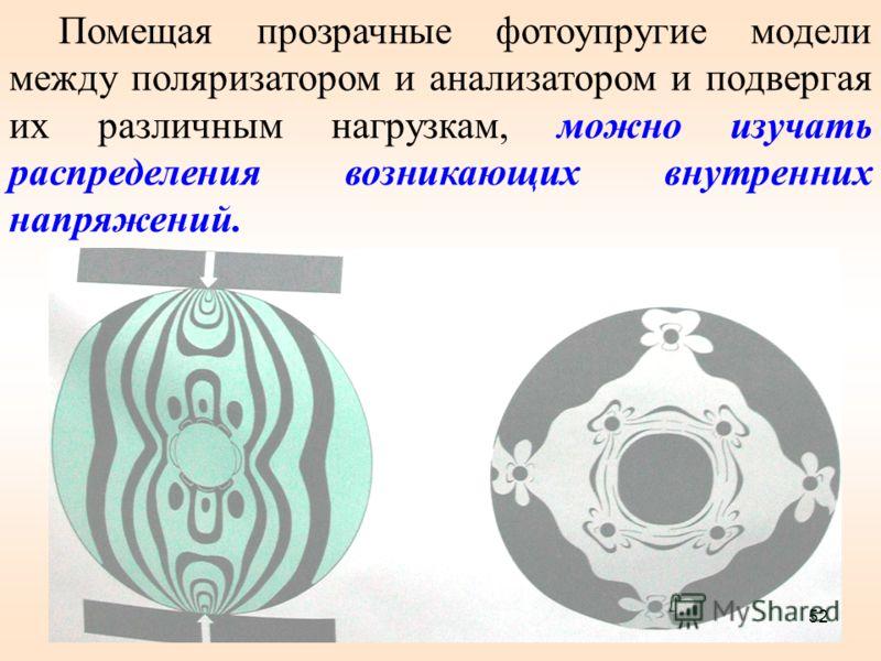 Помещая прозрачные фотоупругие модели между поляризатором и анализатором и подвергая их различным нагрузкам, можно изучать распределения возникающих внутренних напряжений. 52