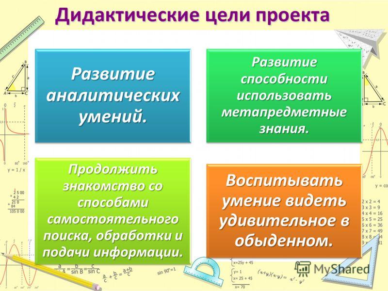 Дидактические цели проекта