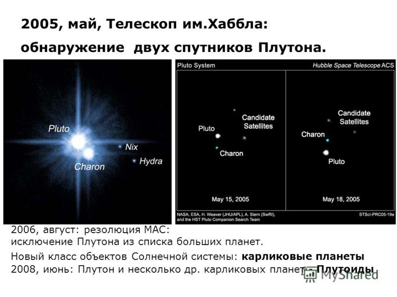2005, май, Телескоп им.Хаббла: обнаружение двух спутников Плутона. 2006, август: резолюция МАС: исключение Плутона из списка больших планет. Новый класс объектов Солнечной системы: карликовые планеты 2008, июнь: Плутон и несколько др. карликовых план