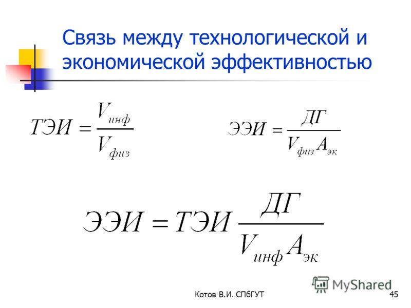 Котов В.И. СПбГУТ45 Связь между технологической и экономической эффективностью
